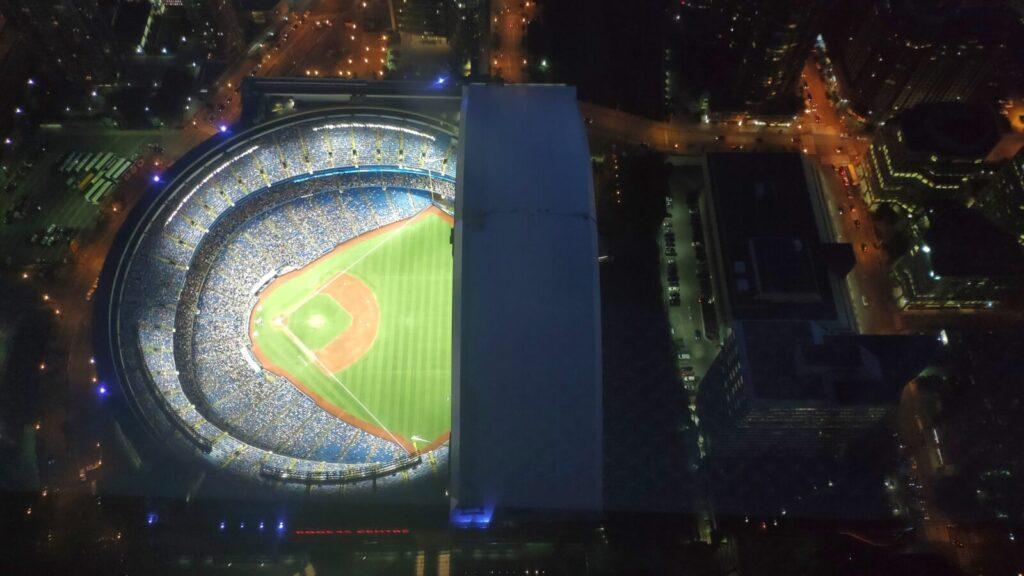 Blick auf das Baseball Stadion